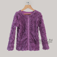 2014 Halloween Baby Girls Coat Purple Lace And Cotton Lining With Rose Flower Coat Children Winter Clothing OC31016-5