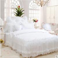 4pcs/6pcs snow white lace princess bed skirt romantic bedspread Korean kids bedding set/bed skirt