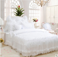 4pcs/6pcs snow white lace princess bed skirt romantic bedspreads unique duvet covers king size princess bedding set bed cover