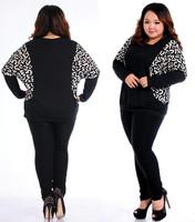 1018 New 2013 Fat women Plus size Batwing Sleeve Tee T Shirt patchwork European style Print Loose Top Blouse XL XXL 3XL 4XL