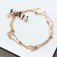 High-quality Brand Designer Gold Plated Link Bracelets Bangles For Women Hand Chain Anklet Sweet Rose bijoux pulseiras femininas