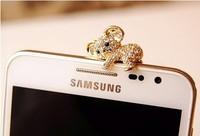 Golden - Korea Cute Koala 3.5mm Crystal Dustproof Cell Phone Headset Dust Plug for iPhone /4s /5 /5s / 5c  for Samsung s3/s4 /s5