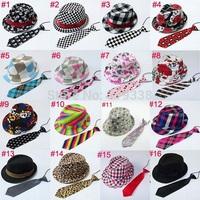 Kids fedora hat with necktie set Trilby Child jazz cap with neck tie Children acting cap Top hat dicer Gangster hat 10set BH230