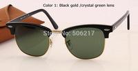 gift for men women brand name high quality sunglasses 3016 clubmaster black gold W0365 51mm Unisex Sunglasses original box case