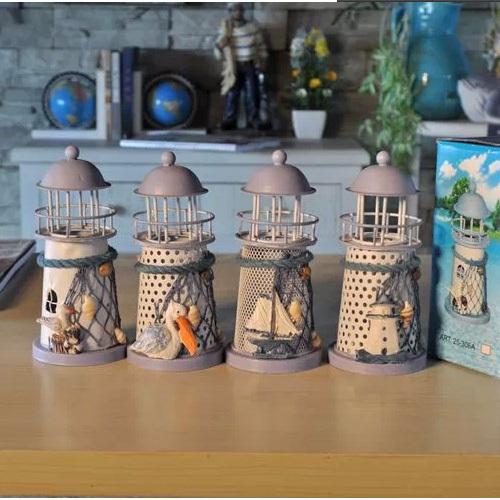 Free shipping New 2014 Hot-selling Zakka Mediterranean-style lighthouse wrought iron Candlestick Candle holder Home decoration(China (Mainland))