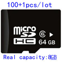 (101PCS/Lot )Micro Sd Card 64GB  Memory Card  TF Card  SDHC   Real Capacity 8GB  With SD Adapter+  Free  Shipping  DHL