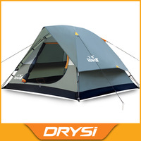 Outdoor 3-4 people double layer camping hiking tent waterproof windproof Oxford fabric fiberglass pole camp tent