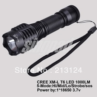 Free shipping 100 LM Lumens 1xT6 1*CREE XML XM-L LED Diving Flashlight Torch Light searching climb