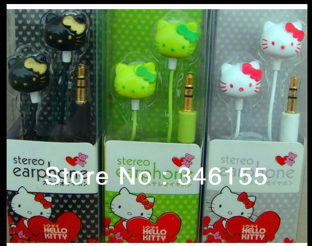 Cute 3.5mm Cartoon Hello Kitty Mp3 Earpohone Headphone for mp3 mp4 cheapest earphones With Retail Box & Free Shipping 2pcs/lot(China (Mainland))