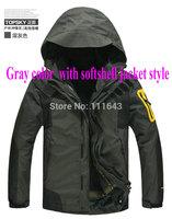 2014 NEW Outdoor Climbing windbreaker clothes fashion 2 in 1 men sports coat Winter warm waterproof men's skiing jacket