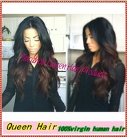 FreeShipping!two tone color Brazilian virgin human ombre hair full lace wig glueless&front lace wig baby hair for Fashion girl