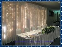 3m x 3m White Silk Wedding Backdrop with LED light  Wedding Curtain Drape for Wedding & Party Decoration Free shipping