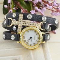 Hot! New Listing Korean Fashion Simple Cross Inlaid Rhinestones Long Leather Quartz Watches Women
