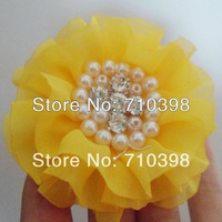 19 colors Free Shipping 120pcs Wedding Party Decoration Craft pearl rhinestone jewelry flowers hair headbands chiffon flowers