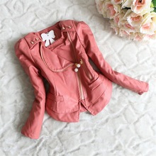 free shipping fashion long sleeve kids girls children leather jacket Beads zipper lace chiffon kids apparels children clothing(China (Mainland))
