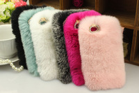 For Apple iPhone 5 5s Case Cony Rabbit Hair Luxury Lady Warm Hand Bag Soft Skin High Quality Cover Hot Sale Gift Wholesale