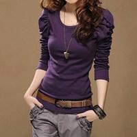 2013 autumn female long-sleeve t-shirt long design long-sleeve T-shirt Women puff sleeve basic shirt female