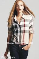 New Fashion  Brand Women Shirt / Apricot Cotton T-shirt / Women Long Sleeve Shirt / 3065 Free shipping