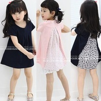 Free Shipping 2013 summer female child girl short-sleeve dress irregular kid's Casual Knee-Length Dress YZ27d