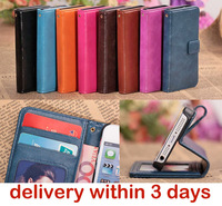 New Fashion Luxury Photo frame Card slot design Sheep Leather For Iphone 5 5s Phone Case Wallet Purse Flip Stand holder Cover