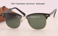 100% UV best quality Unisex original box case men/women clubmaster sunglasses aluminum 3507 136/N5 in black/gold strip 51mm