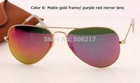 100% UV metal aviator sunglasses 3025 women fashion sunglasses aviator flash lenses matte gold red  rb purple mirror