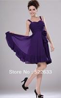 Free Shipping Purple A-line Knee-length Shoulder Straps Cheap Cocktail Dresses 2014