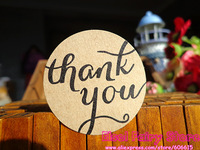 Wholesale (600pcs/lot) Kraft Seal Label Sticker 'Thank You' Circle Point Sticker Free shipping
