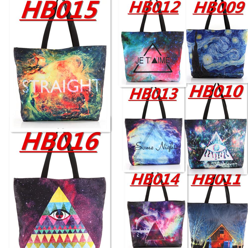 WHOLESALE HB009-HB016 Galaxy Shopping Canvas Handbag Computer LAPTOP Ipad Recycle Totes Shoulder Bag Printing Shopping Folded(China (Mainland))