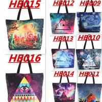 WHOLESALE HB009-HB016 Galaxy Shopping Canvas Handbag Computer LAPTOP Ipad Recycle Totes Shoulder Bag Printing Shopping Folded