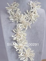 WHOLESALE 8 PCS FLOWER OF SHELL + PEARL BEADS NECKLACE  NEW STYLE MOON DDDIII