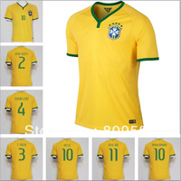 New Arrived  Top Best quality 2013/14 Brazil socce jersey 2014 World Cup Brazil national team home yellow free shipping