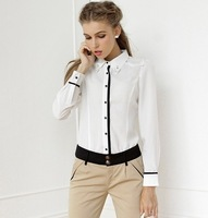 Big size women clothes Fall 2013 designer fashion diamond turn-down collar top long-sleeve chiffon women's shirt white blouse