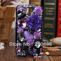 phone Cover Case for samsung galaxy SIV S4 9500,bling Rhinestone rose flower comb mirror handbag bowknot,4 colour,Free shipping