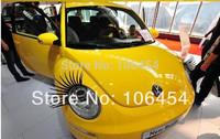 2pcs of Car Eye Lash 3D Funny Beetle Eyelashes Charming False Black Decal Decoration VW Headlight Sticker free shiipping