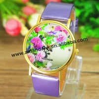 100pcs/lot Hot Sale Fashion GENEVA Flower Woman Watch TOP Quality Leather Quartz Women Dress Wristwatches Casual Students Watch