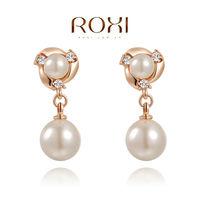 ROXI fashion new arrival, genuine Austrian crystal,pearl Earrings,women trendy earrings Chrismas /Birthday gift
