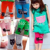 2014 New Asymmetric Cat Prints Leggings Children Girl Lovely Summer Shorts 100% Cotton Cropped Pants