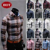 2013 Free Shipping New Mens Fashion Long Sleeve shirt ,Colorful Plaid Shirt For Men ,Slim Shirts,asian size M-3XL U6561