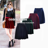 SK17 New Arrival Celebrity Style Plus Size M L Vintage Elastic Waist Pleated Velvet Skater A Line Skirt Autumn Winter Mini Skirt