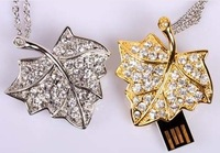 Free shipping Jewelry USB Flash Drive Crystal Maple leaf usb flash memory with F-H057