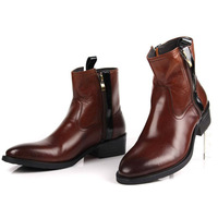 2014 Fashion Men's  Boot 100% Cowhide Leather  High Quality Assurance Warm Winter Shoes Ankle Boots Wholesale