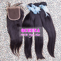 virgin peruvian vigin hair Straight 4pcslot Queen hair products lace closure with hair bundles,100% virgin hair unprocessed