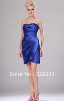 Free Shipping Royal Blue Sheath Short Strapless Cheap Cocktail Dresses 2014
