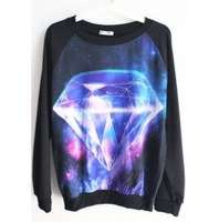 New autumn - winter fashion personality pattern printed with galaxy sweatshirt  long-sleeved round neck pullover sweater