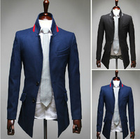 Free Shipping Mens Blazers Mens suit jackets stand collar Outerwear Long Coat  A8633