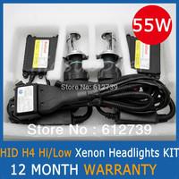 12V 55W Slim Ballast HID XENON Conversion KIT Headlights  H4 Hi/Low H4-3 Bi-Xenon Cheap Shipping