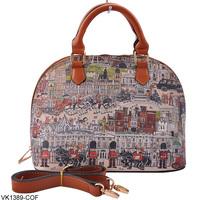 11-11 Sale 2014 New Arrival  Vintage Print PU leather Tote Bags Designers Women Handbags Fashion Bag VK1389