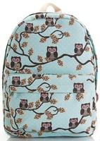 New 2014 OWL printing backpack children backpacks women travel bags girl cartoon bag brand shoulder bags canvas school backpack
