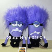 "Free Shipping 2/Lot 2013 New 2 Style JUMBO DESPICABLE ME 2 PURPLE EVIL MINION 2D Eyes PLUSH DOLL 11"" Retail"